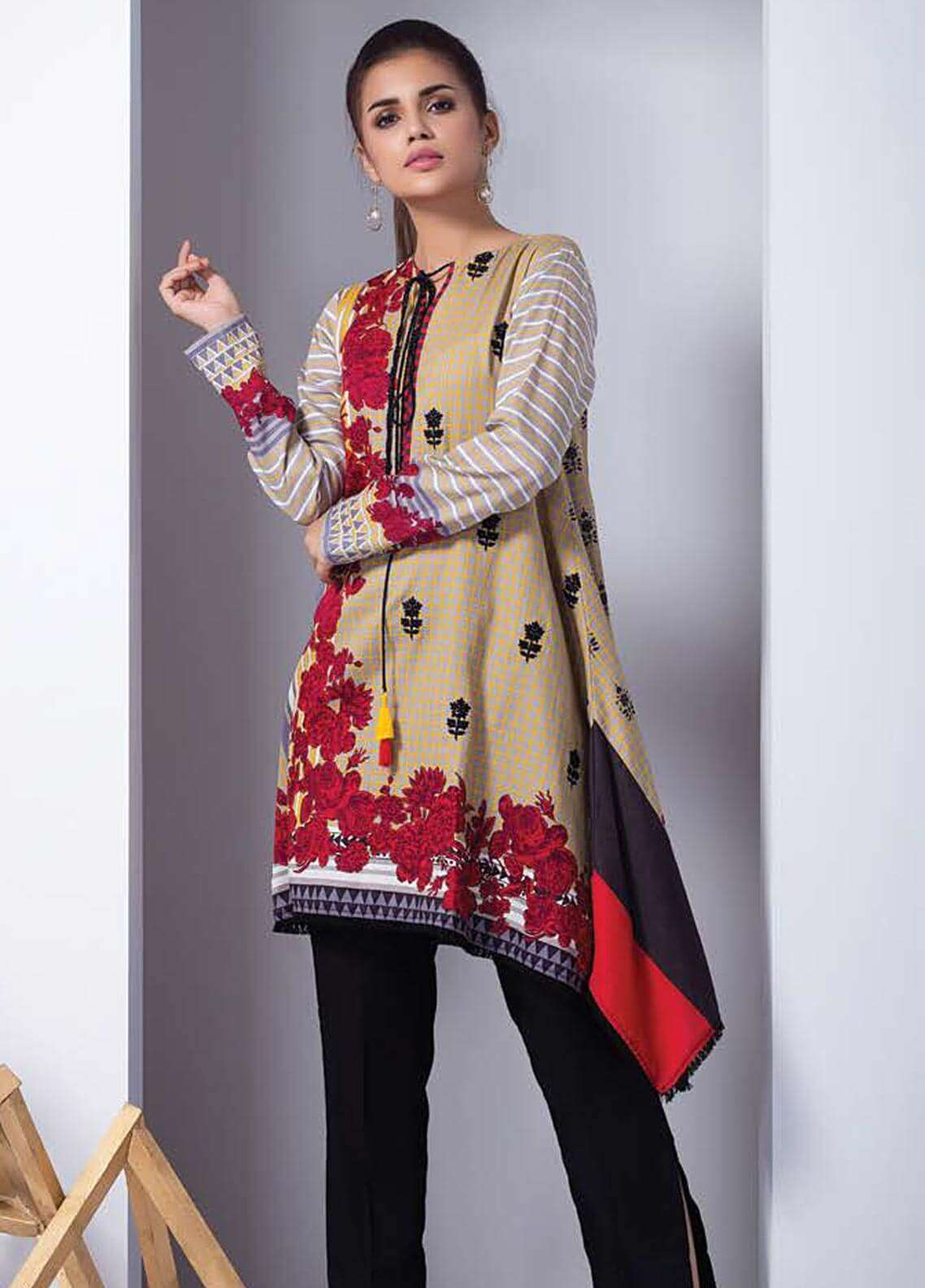 Orient Textile Embroidered Cotton Cotel Unstitched Kurties OT18W 217A Interlock - Winter Collection