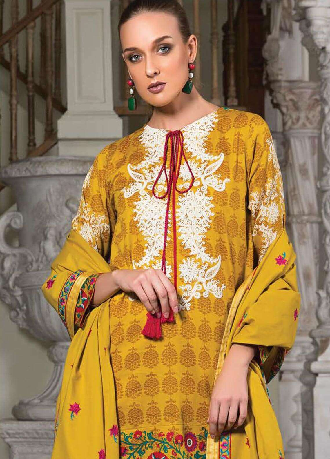Orient Textile Embroidered Cotton Cotel Unstitched 3 Piece Suit OT18W 223A Kimberley - Winter Collection