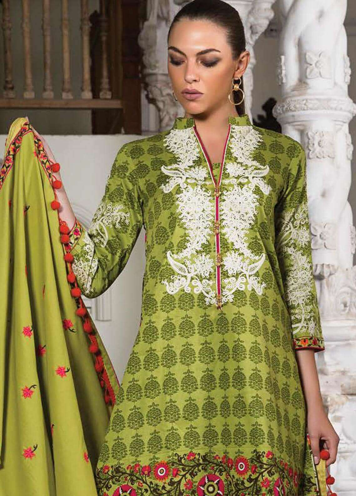 Orient Textile Embroidered Cotton Cotel Unstitched 3 Piece Suit OT18W 223B Kimberley - Winter Collection