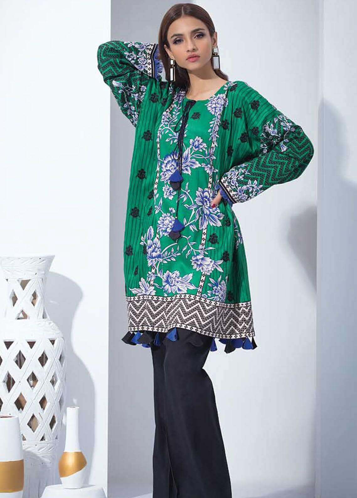 Orient Textile Embroidered Linen Unstitched Kurties OT18W 227A Elemental - Winter Collection