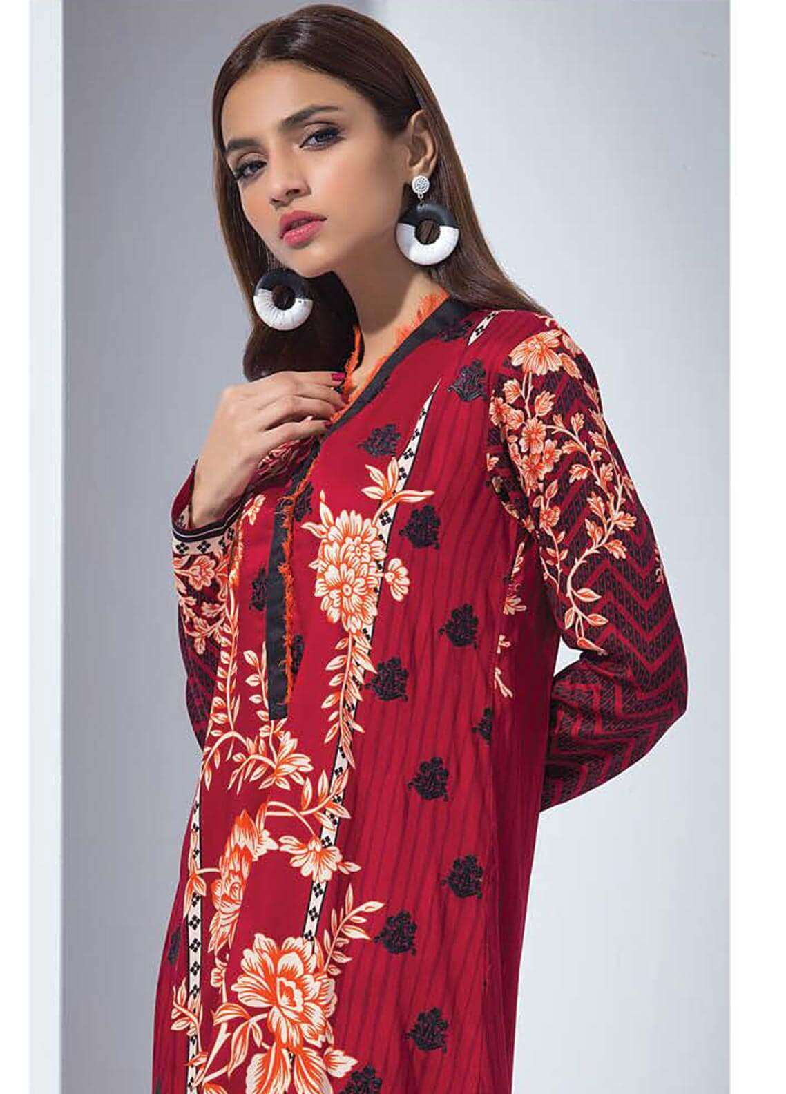 Orient Textile Embroidered Linen Unstitched Kurties OT18W 227B Elemental - Winter Collection