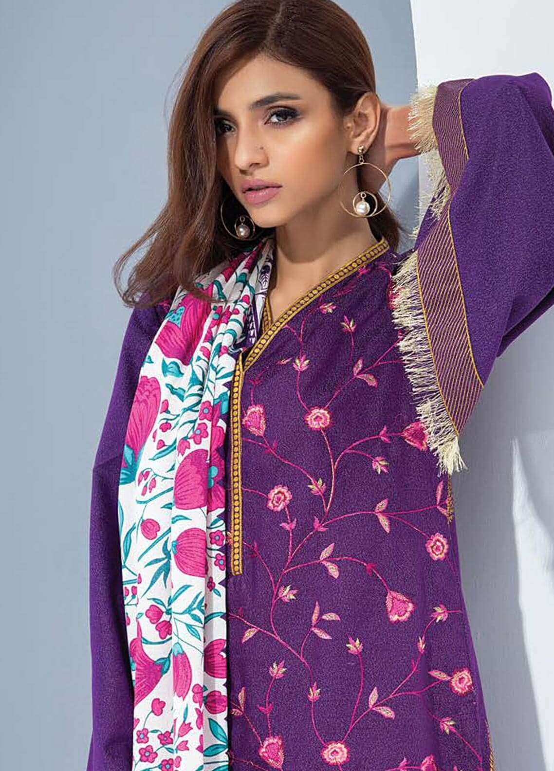 Orient Textile Embroidered karandi Unstitched 3 Piece Suit OT18W 243A Kalam Kari - Winter Collection