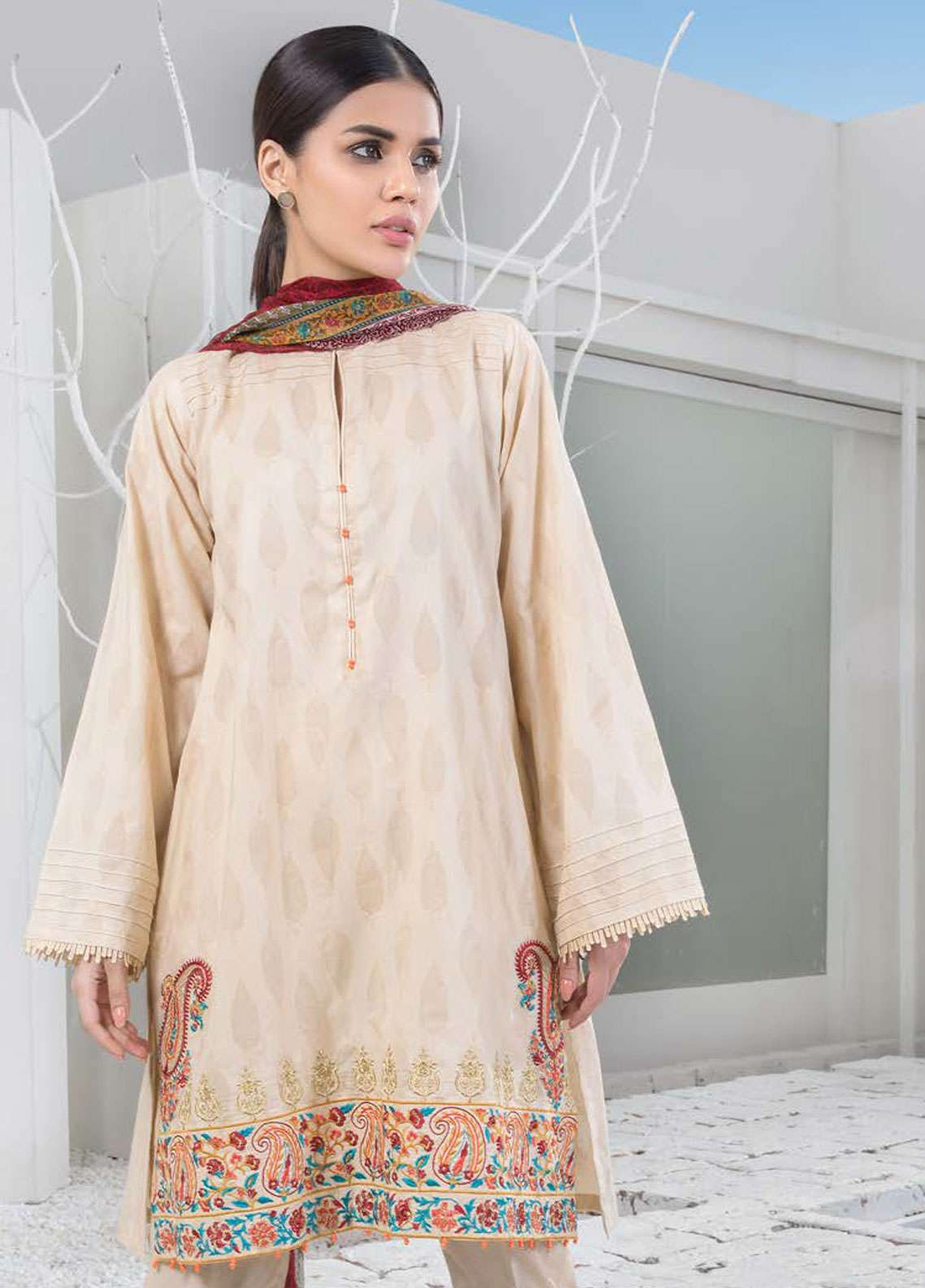 Orient Textile Embroidered Jacquard Unstitched 3 Piece Suit OT19-L2 124 B - Spring / Summer Collection
