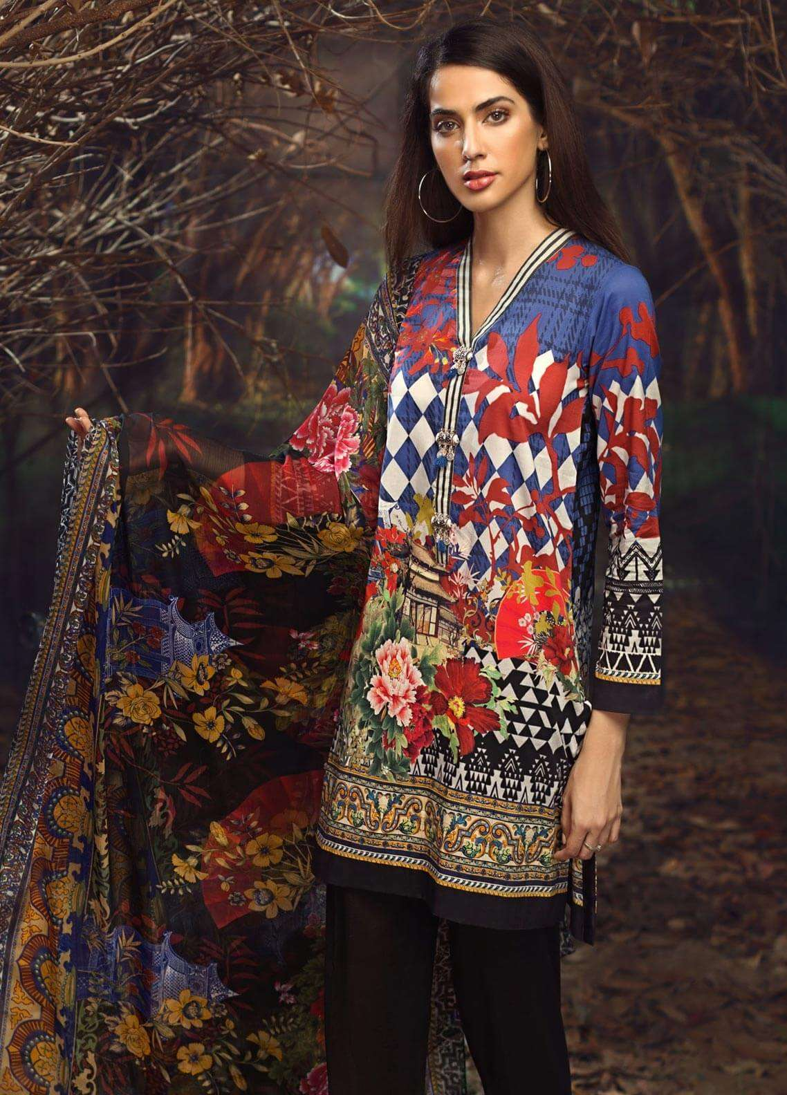 LimeLight Printed Cambric Unstitched 2 Piece Suit ORIENTAL BLOOM (BLUE) - Cambric Collection