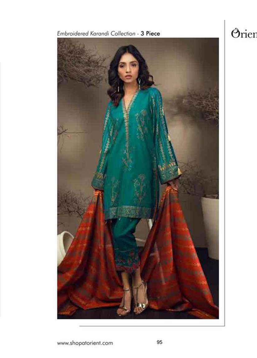 Orient Textile Embroidered Cottle Linen Unstitched 3 Piece Suit OT17W 148B