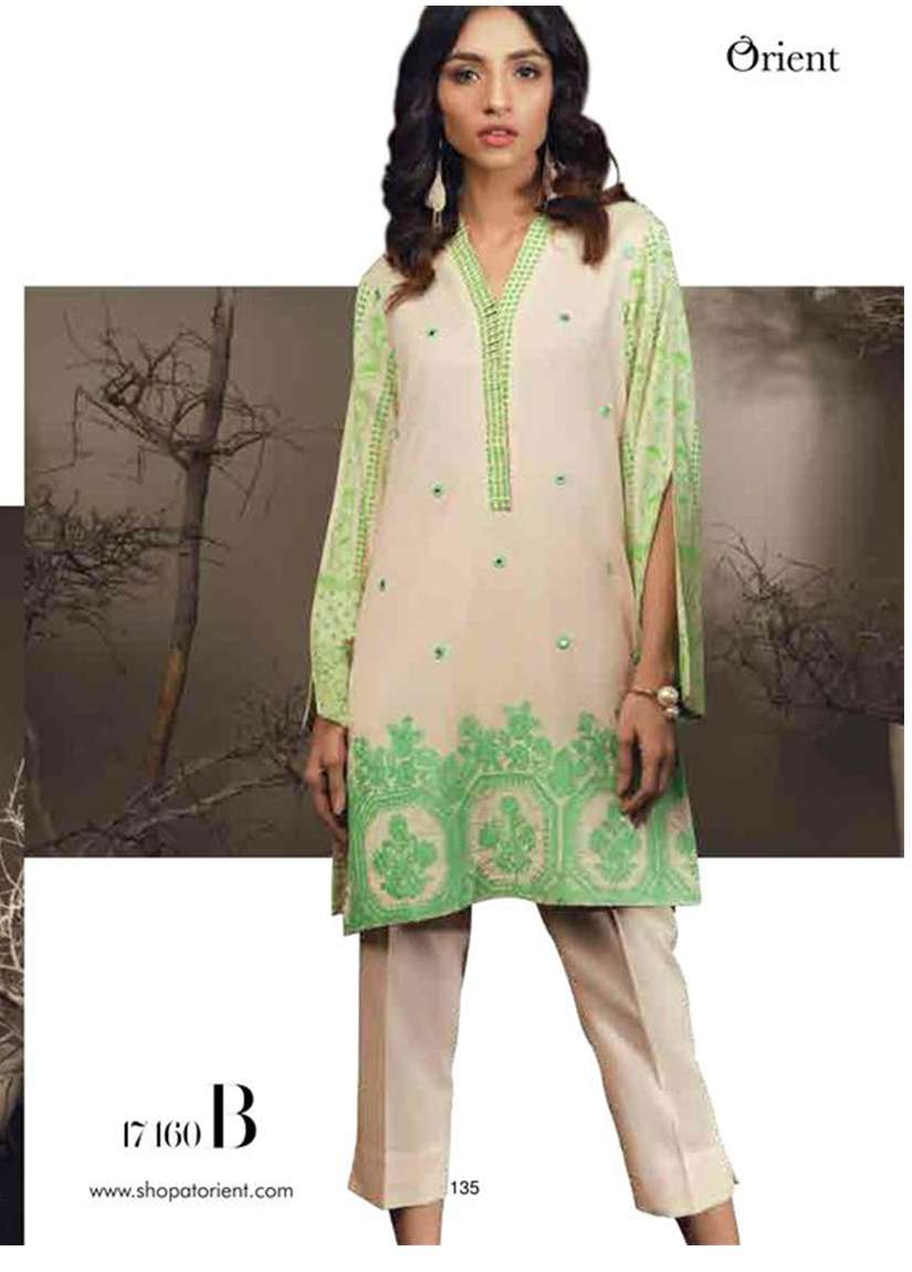 Orient Textile Embroidered Cottle Linen Unstitched Kurtis OT17W 160B