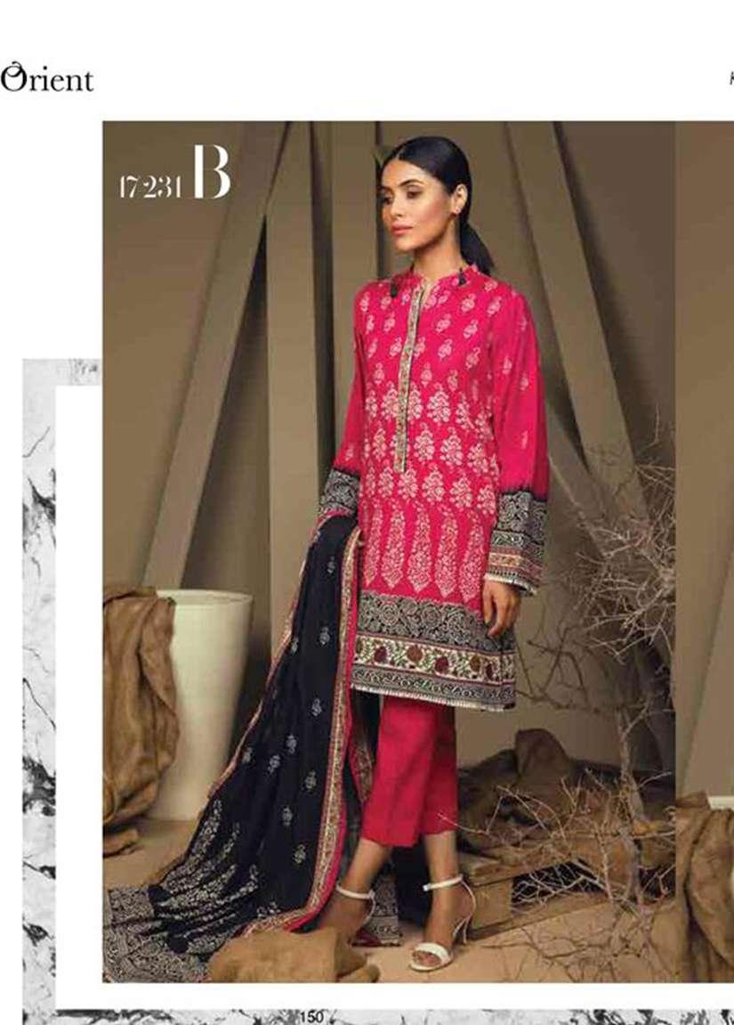Orient Textile Embroidered Cottle Linen Unstitched 3 Piece Suit OT17W 231B