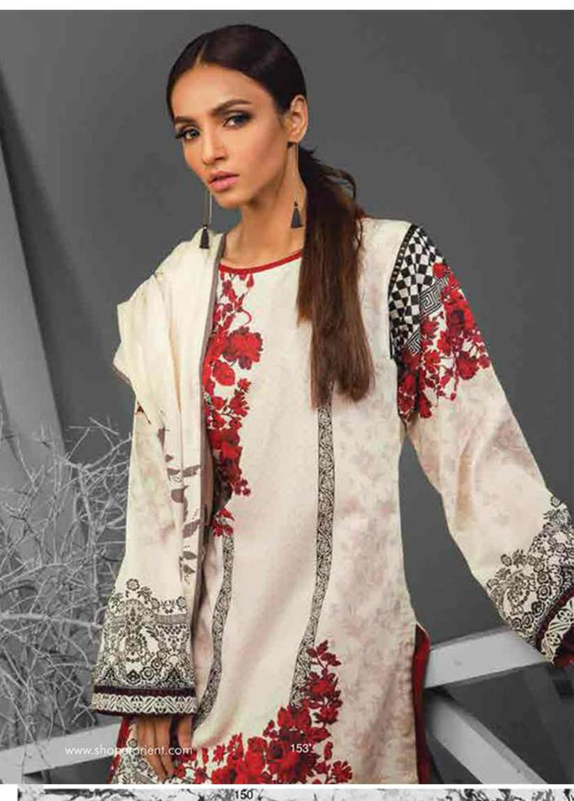Orient Textile Embroidered Cottle Linen Unstitched 3 Piece Suit OT17W 232A