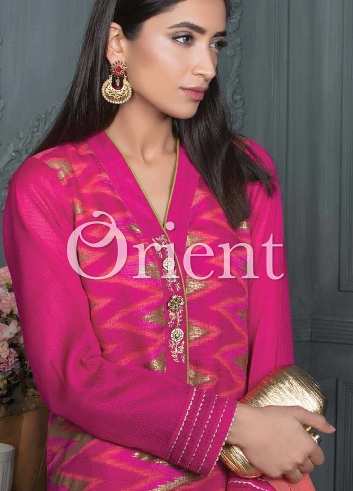 Orient Textile Embroidered Cotta Fabric Unstitched 3 Piece Suit OT18E 172B - Formal Collection