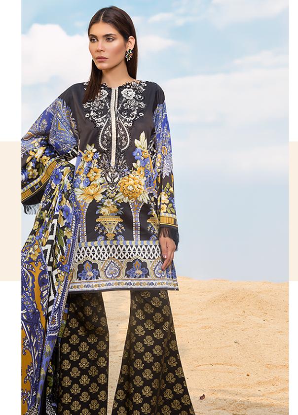 Sapphire Embroidered Cotton Unstitched 3 Piece Suit SP17W Paisley Fume A