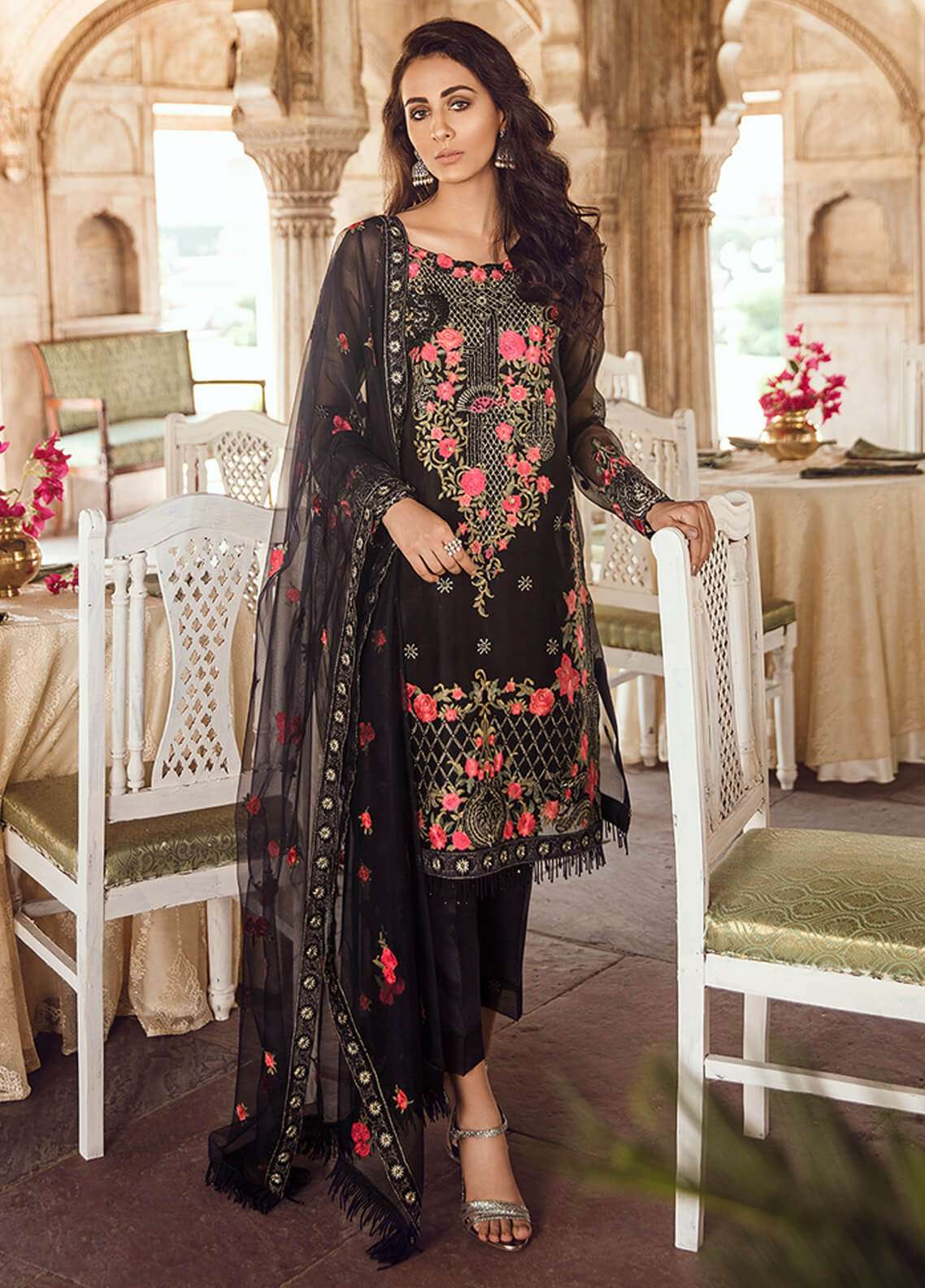 Panache Embroidered Organza Unstitched 3 Piece Suit PN18VM 01 TISHNAGI - Luxury Collection