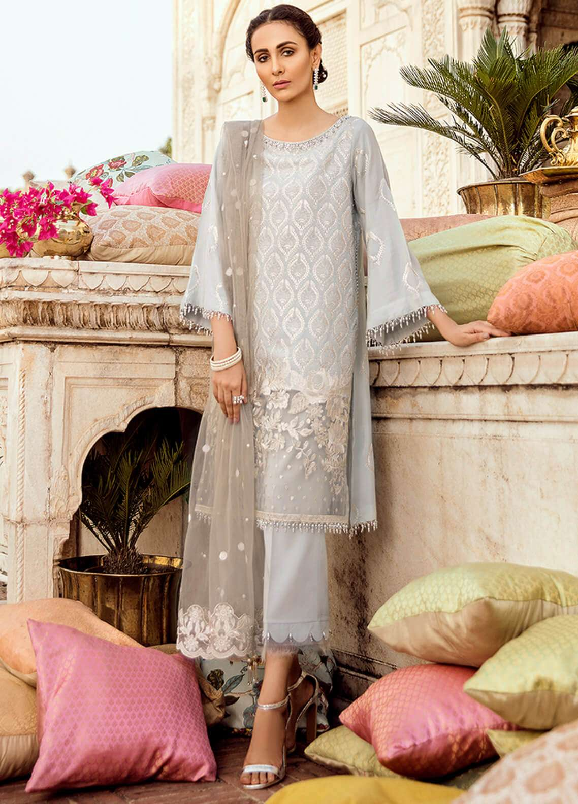 Panache Embroidered Raw Silk Unstitched 3 Piece Suit PN18VM 04 ASHNA - Luxury Collection