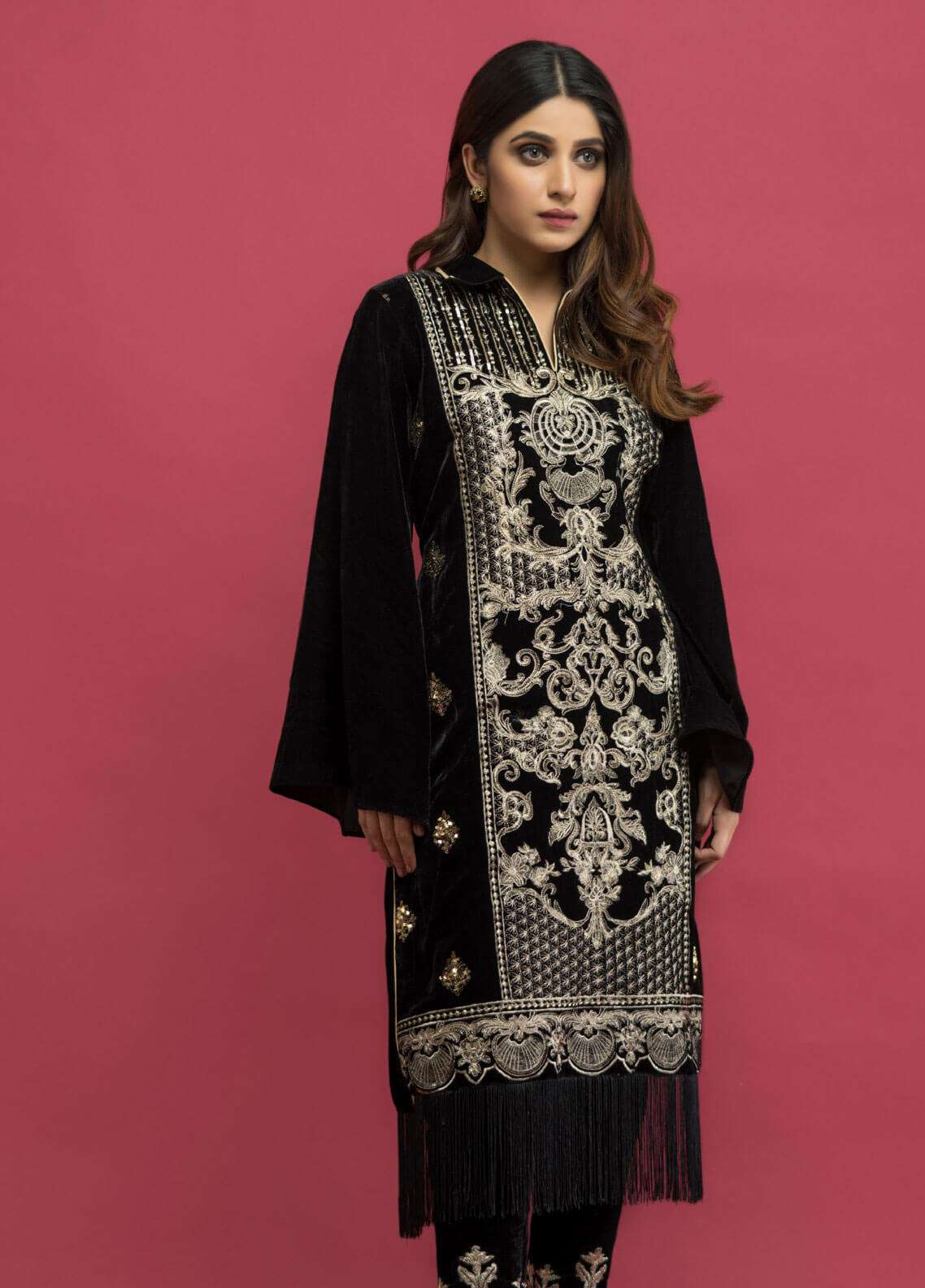 Panache Embroidered Velvet Unstitched Kurties PN18-V2 02 - Winter Collection