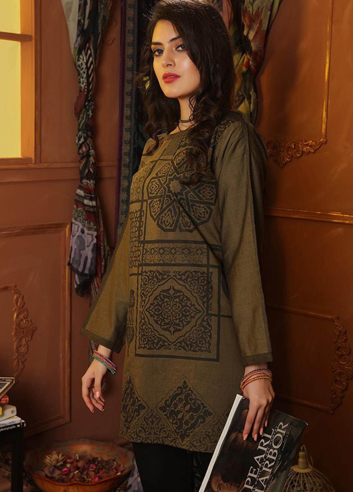 INDICOT  Embroidered Denim Stitched Kurtis Arabesque IB-002 Panachi Olive