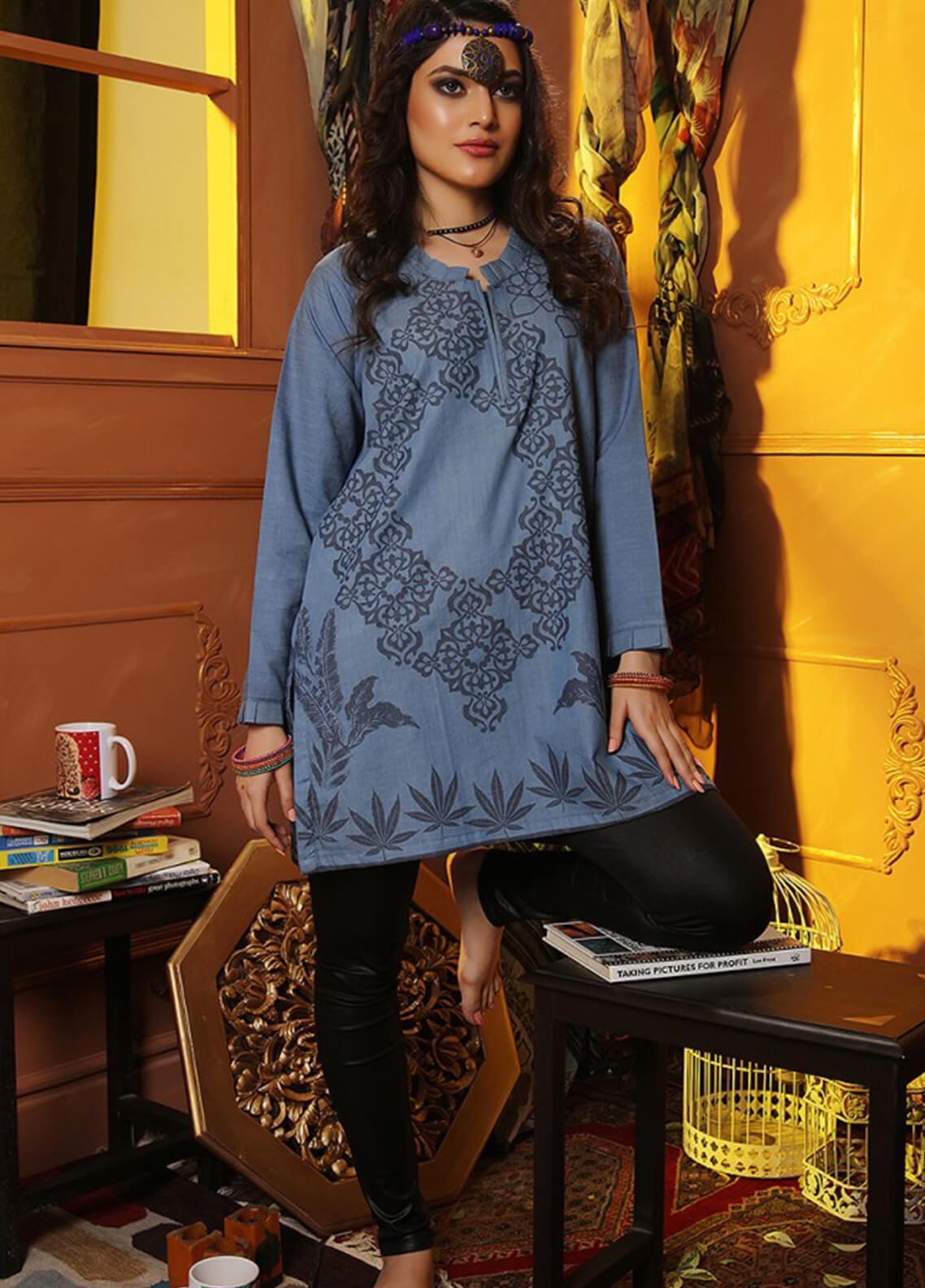 INDICOT  Embroidered Denim Stitched Kurtis Egyptian Gypsy IB-003 Panachi Blue