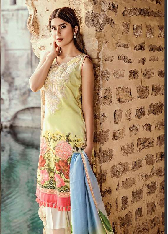 Zehra Saleem Embroidered Lawn Unstitched 3 Piece Suit PN18L 03 - Spring / Summer Collection