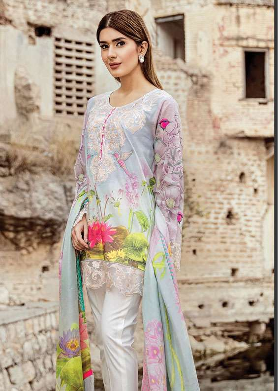 Zehra Saleem Embroidered Lawn Unstitched 3 Piece Suit PN18L 04 - Spring / Summer Collection