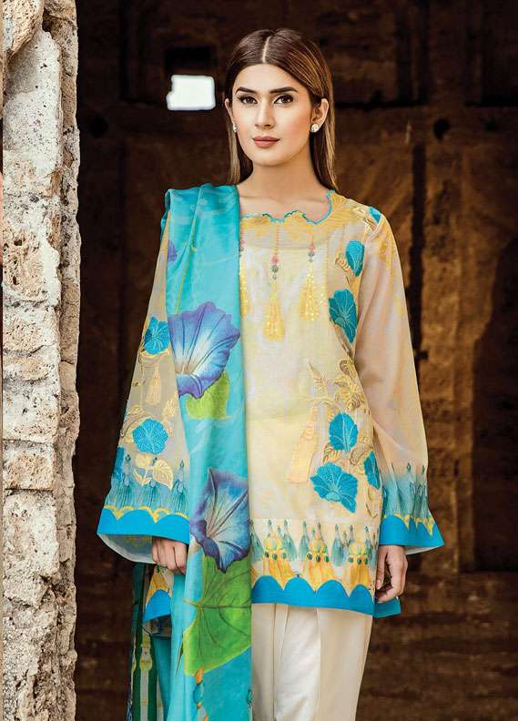 Zehra Saleem Embroidered Lawn Unstitched 3 Piece Suit PN18L 06 - Spring / Summer Collection