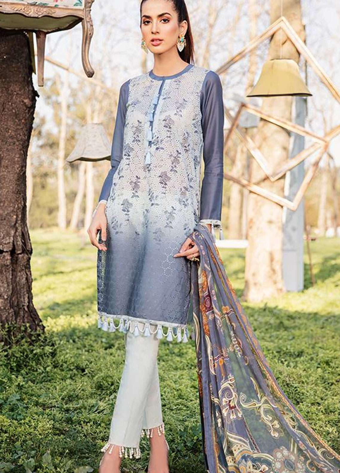Qalamkar Embroidered Schiffli Unstitched 3 Piece Suit QLM19L 10 - Spring / Summer Collection