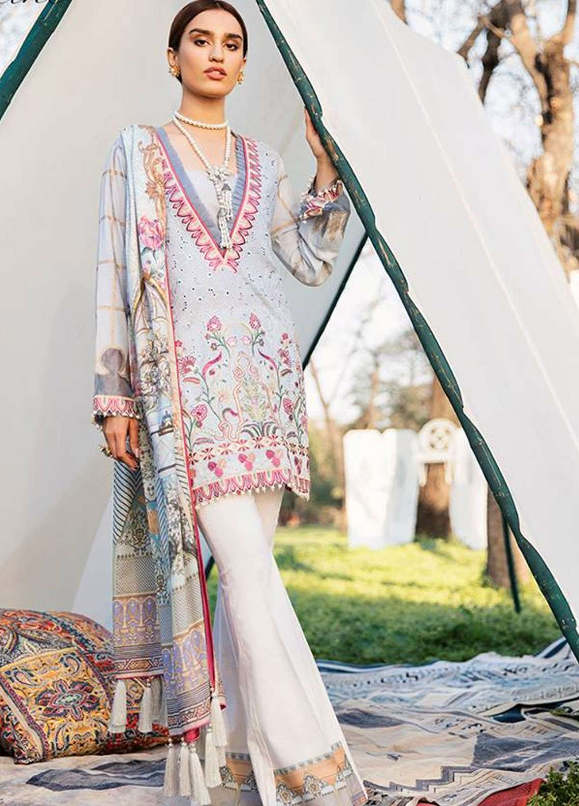 Qalamkar Embroidered Schiffli Unstitched 3 Piece Suit QLM19L 1B - Spring / Summer Collection