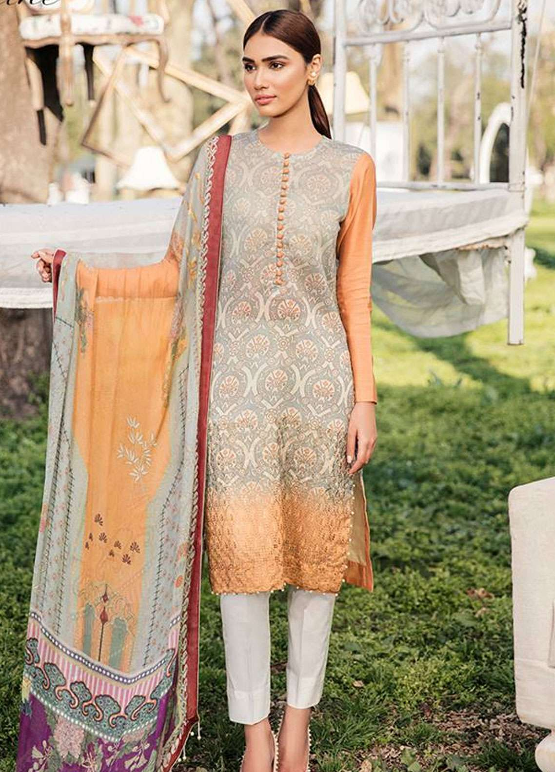 Qalamkar Embroidered Schiffli Unstitched 3 Piece Suit QLM19L 8 - Spring / Summer Collection