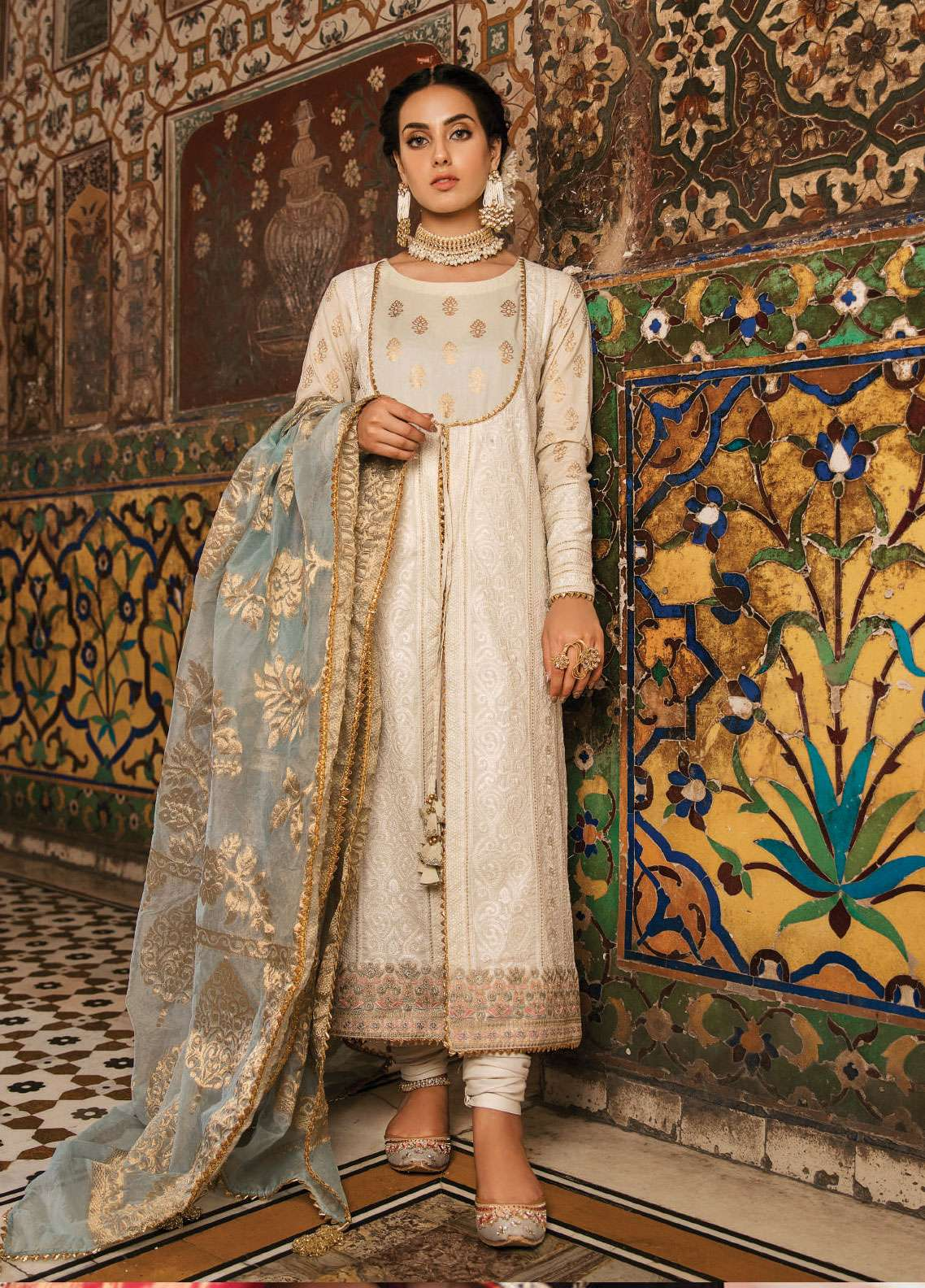 Qalamkar Embroidered Schiffli Unstitched 3 Piece Suit QLM19F 07 FEROZA - Festive Collection