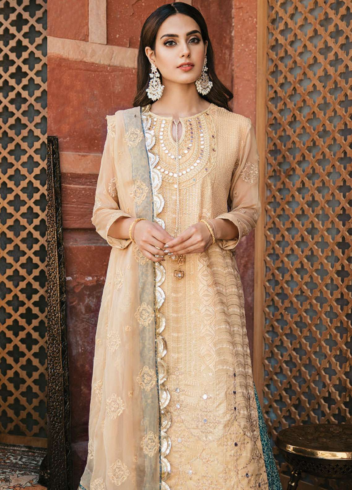 Qalamkar Embroidered Schiffli Unstitched 3 Piece Suit QLM19F 12 KAHARA - Festive Collection