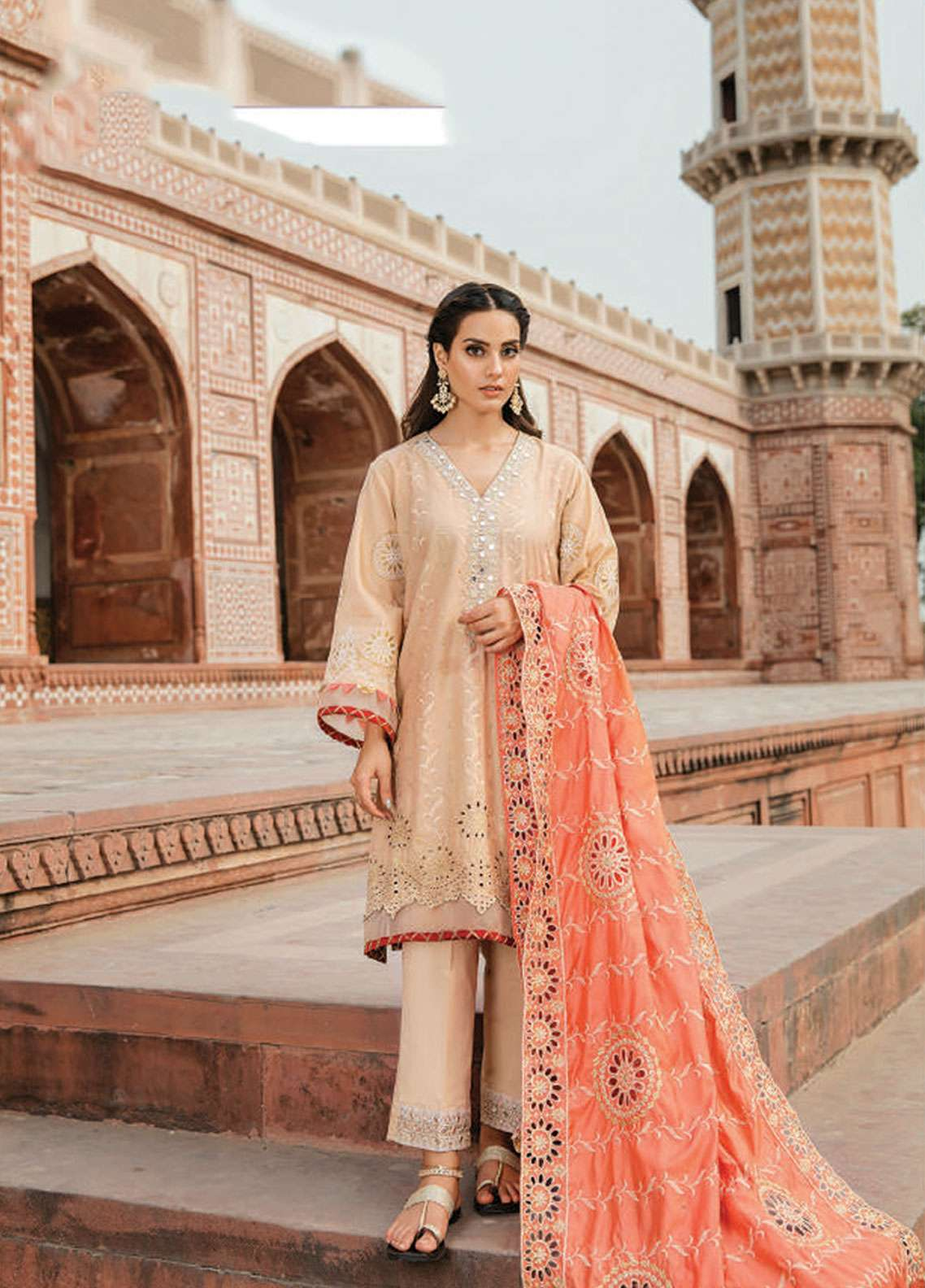 Qalamkar Embroidered Schiffli Unstitched 3 Piece Suit QLM19F 14 FATIN - Festive Collection