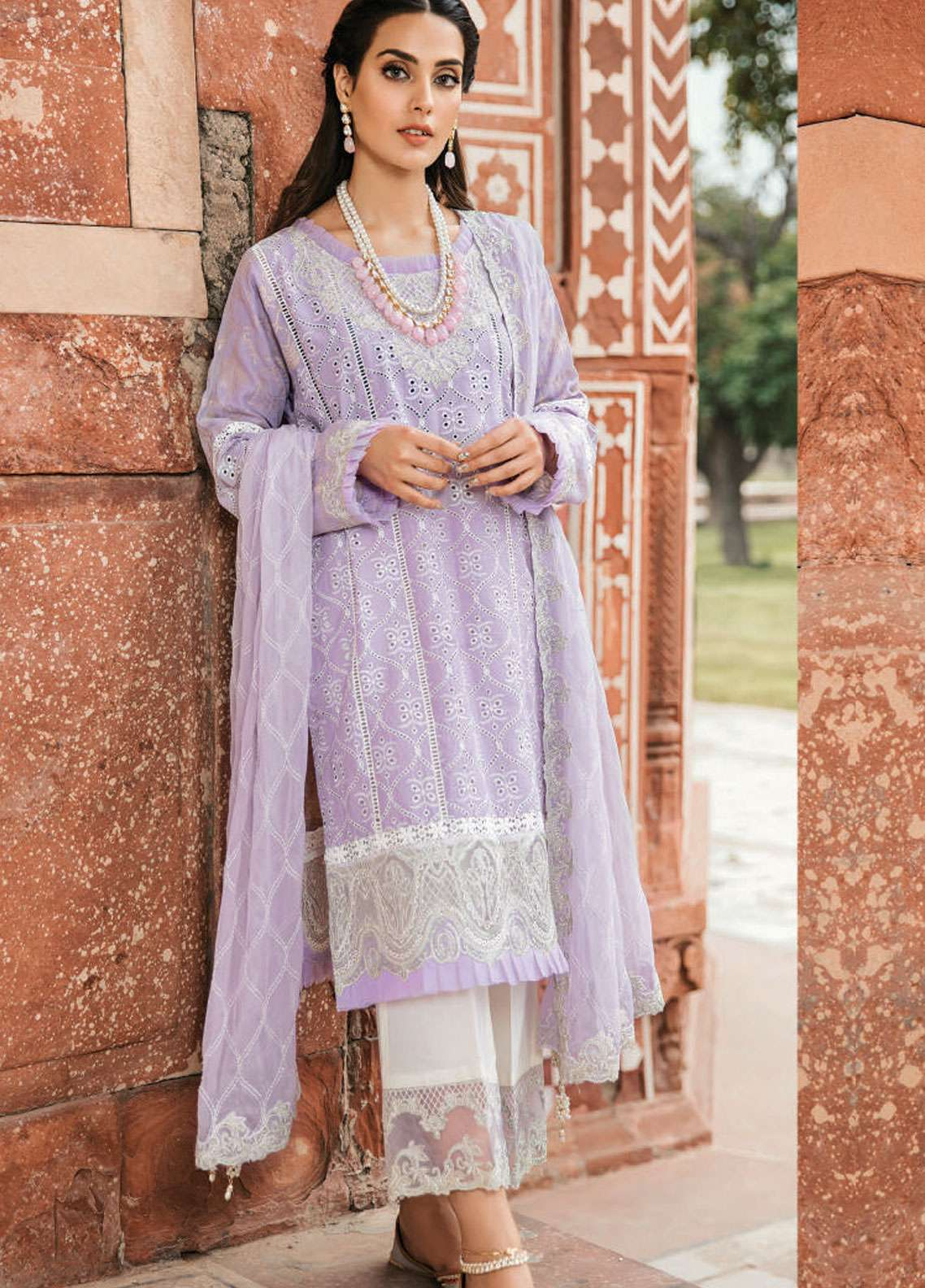 Qalamkar Embroidered Schiffli Unstitched 3 Piece Suit QLM19F 15 IZDIHAR - Festive Collection