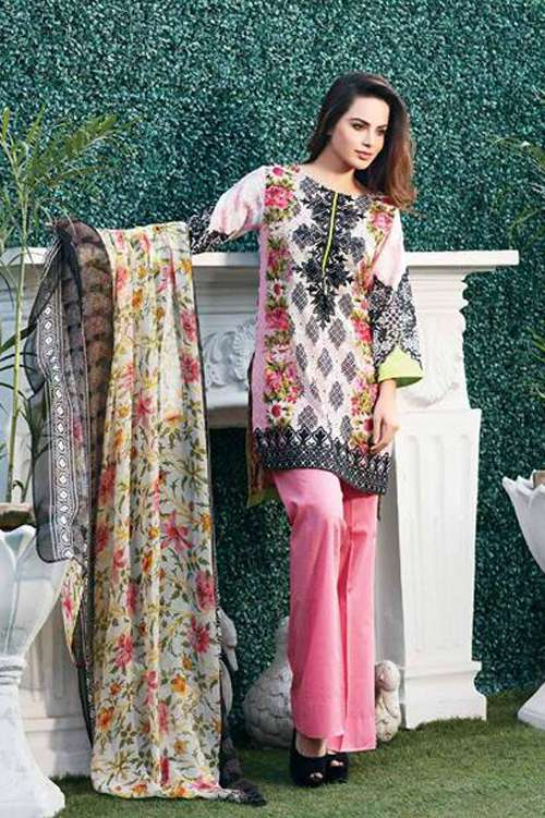Riaz Arts Embroidered Swiss Voile Unstitched Suit 3 Piece Suit RA17V 12B