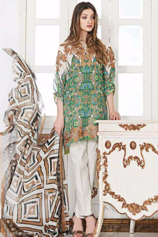 Riaz Arts Embroidered Swiss Voile Unstitched Suit 3 Piece Suit RA17V 14B