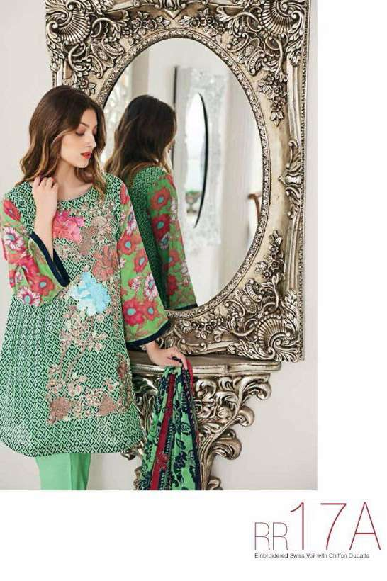 Riaz Arts Embroidered Swiss Voile Unstitched Suit 3 Piece Suit RA17V 17A