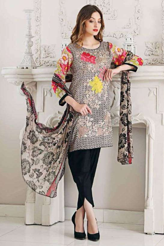 Riaz Arts Embroidered Swiss Voile Unstitched Suit 3 Piece Suit RA17V 17B