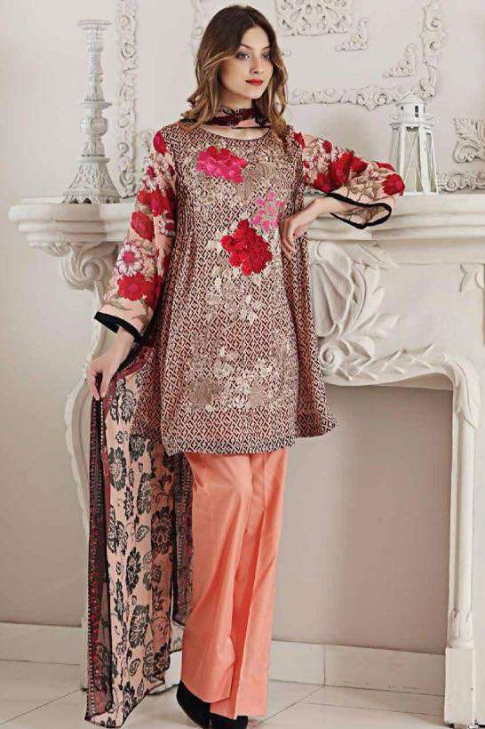 Riaz Arts Embroidered Swiss Voile Unstitched Suit 3 Piece Suit RA17V 17C