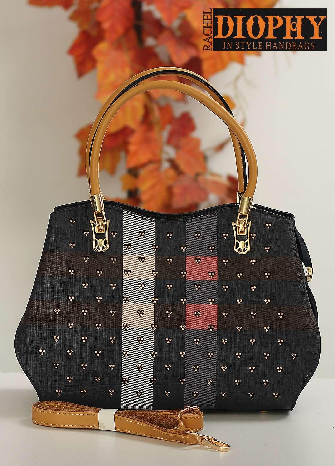 Rachel Diophy PU Leather Satchels Handbags for Women - Grey with Cut Work