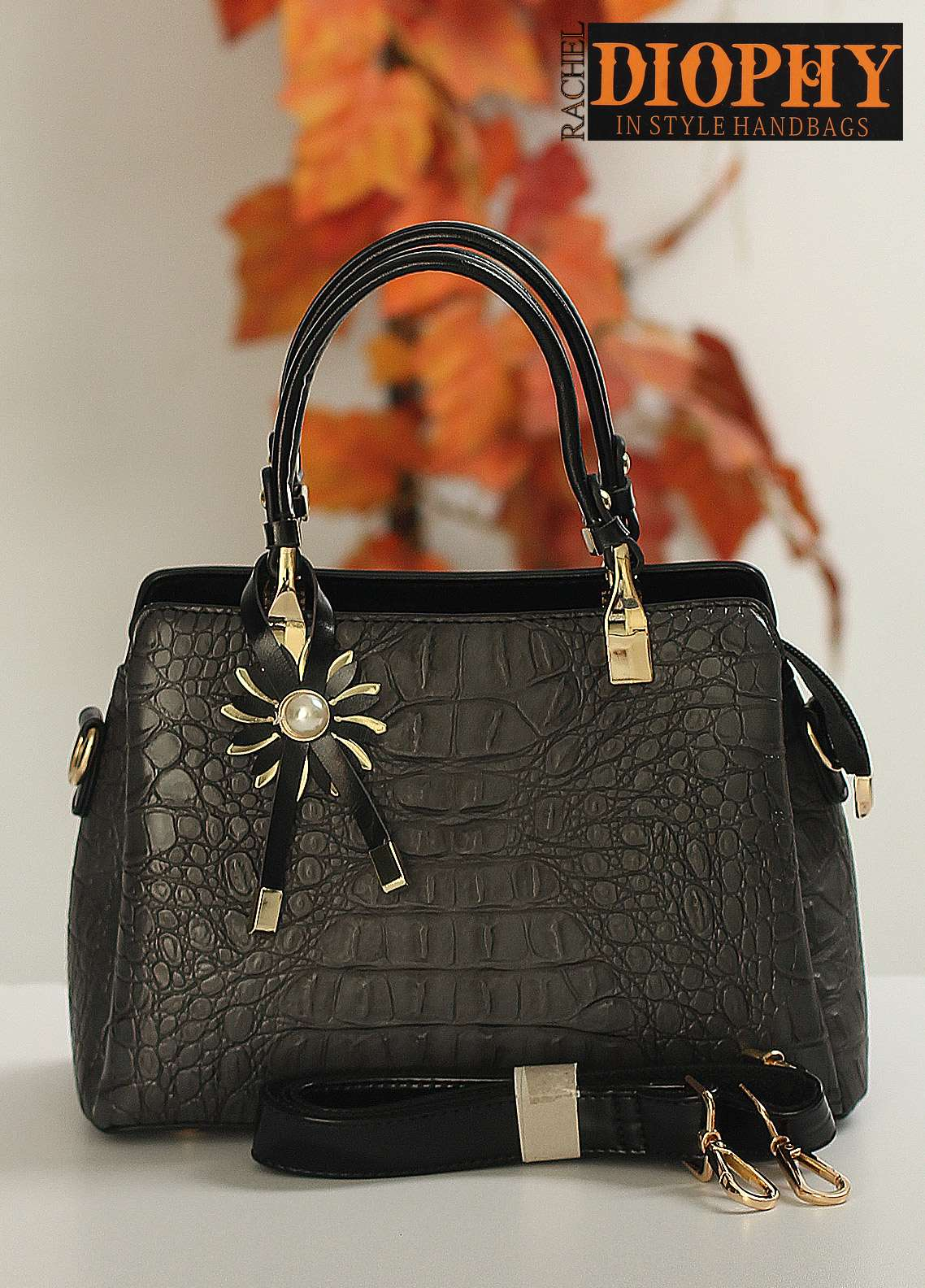 Rachel Diophy PU Leather Satchels Handbags for Women - Grey with Crocodile Textured