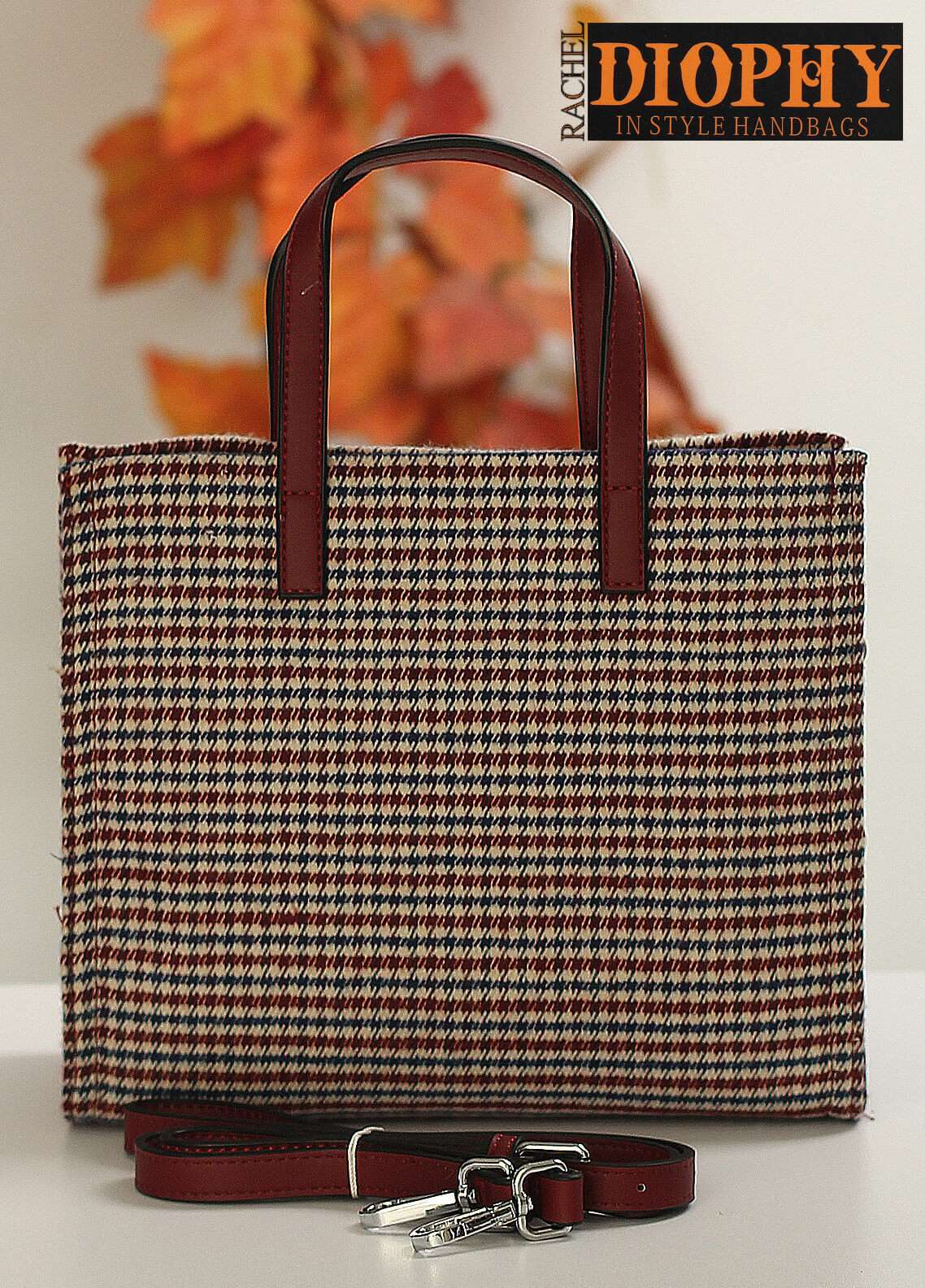 Rachel Diophy PU Leather Satchels Handbags for Women - Brown with Printed Yarn & Leather Stripes