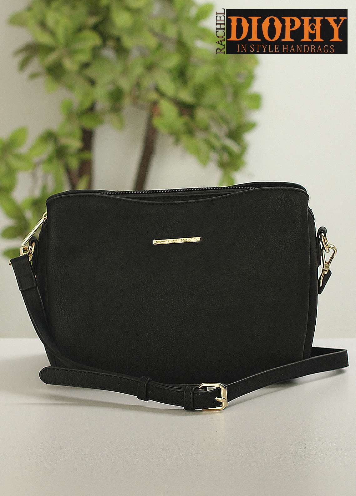 Rachel Diophy PU Leather Shoulder Bags for Women - Black with Plain Textured