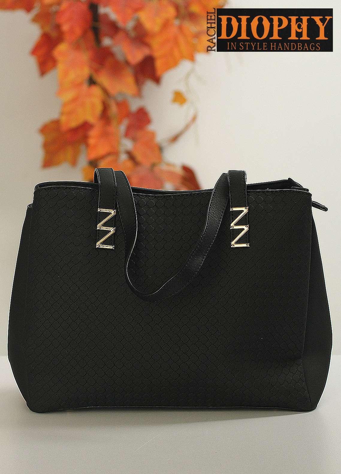 Rachel Diophy PU Leather Satchels Handbags for Women - Black with Plain Textured