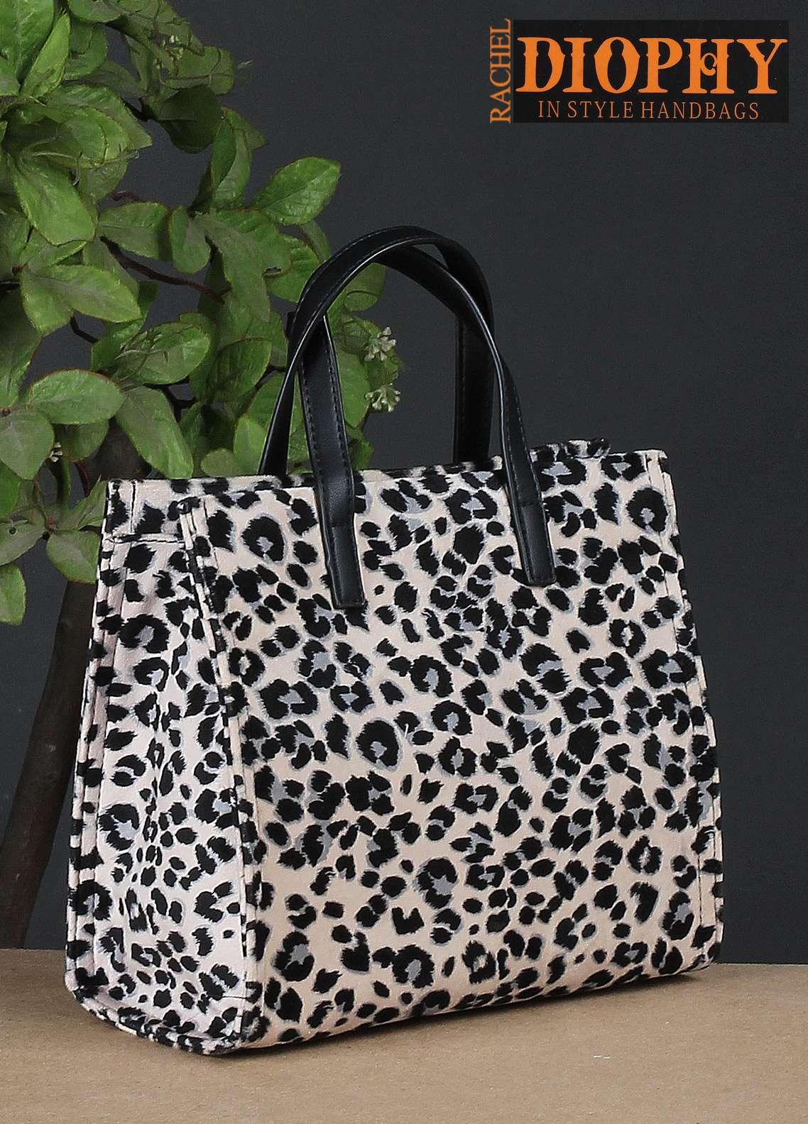 Rachel Diophy PU Leather Satchels Handbags for Women - Black with Velvet Textured