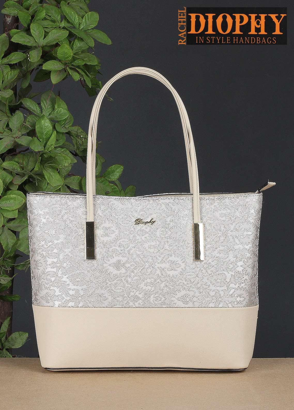 Rachel Diophy PU Leather Tote Handbags for Women - Beige with Embroidered Textured