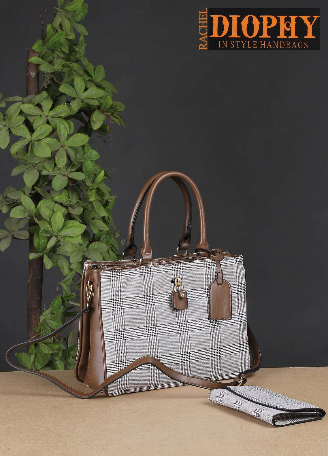 Rachel Diophy PU Leather Satchels Handbags for Women - Brown with Printed Textured