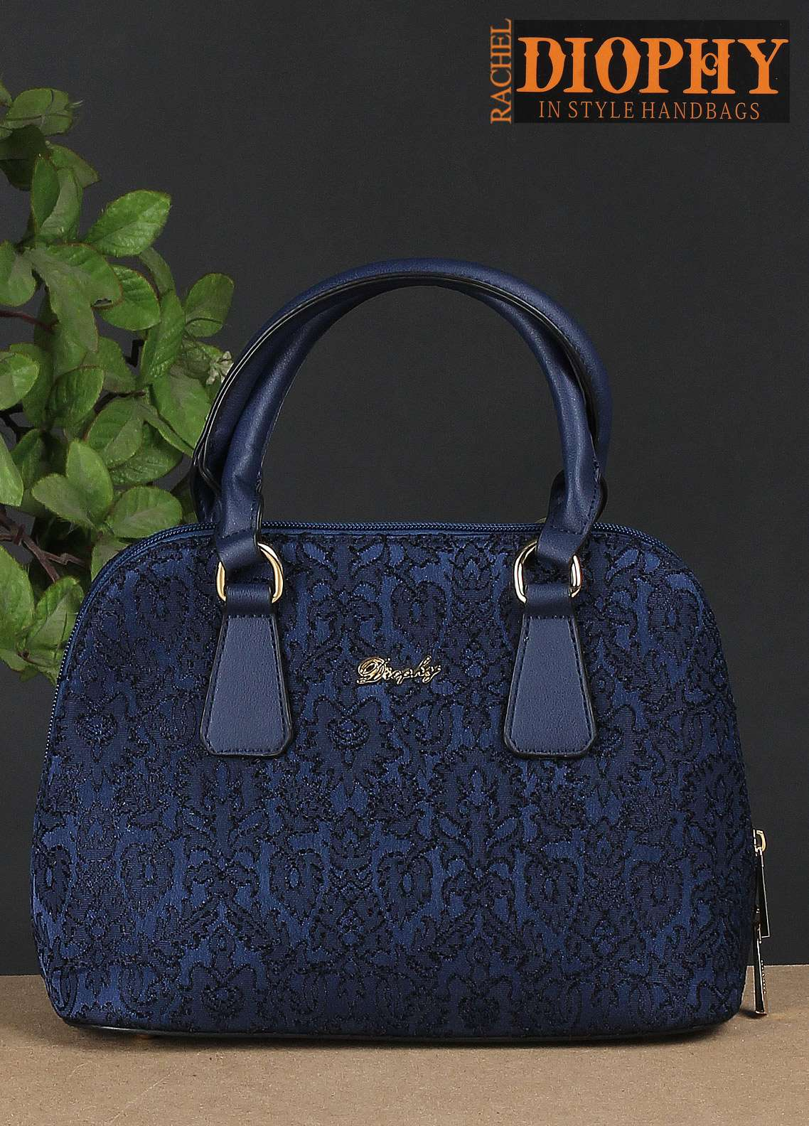 Rachel Diophy PU Leather Satchels Handbags for Women - Blue with Embroidered Textured