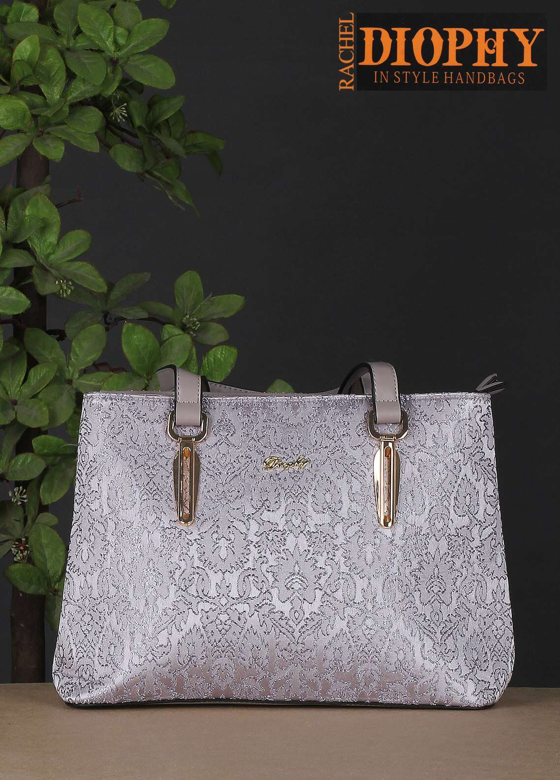 Rachel Diophy PU Leather Satchels Handbags for Women - Silver with Woven Textured
