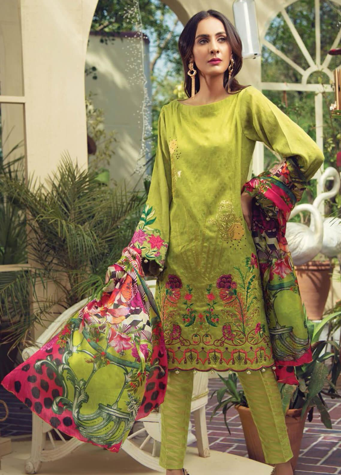 RajBari Embroidered Silk Net Unstitched 3 Piece Suit RB19F 1B - Festive Collection