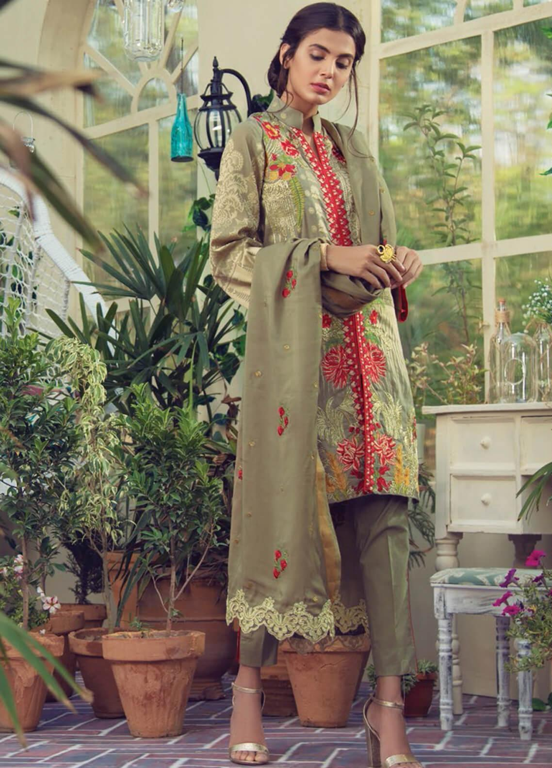 RajBari Embroidered Jacquard Unstitched 3 Piece Suit RB19F 3A - Festive Collection