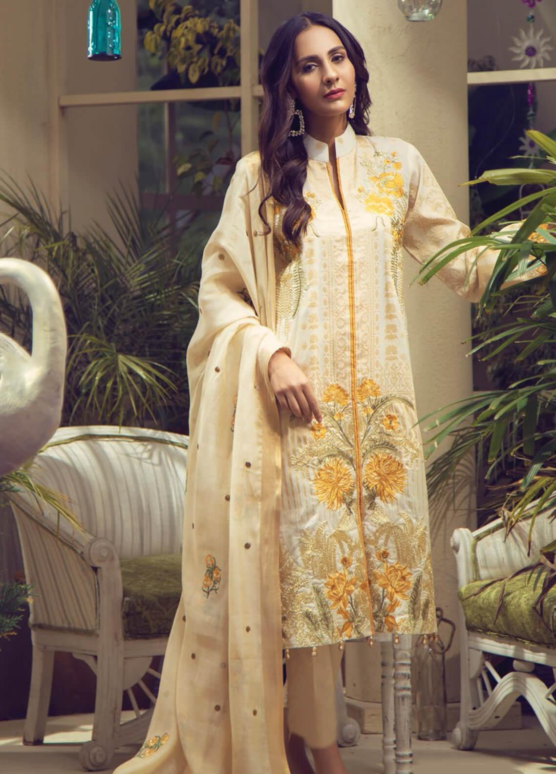 RajBari Embroidered Jacquard Unstitched 3 Piece Suit RB19F 3B - Festive Collection