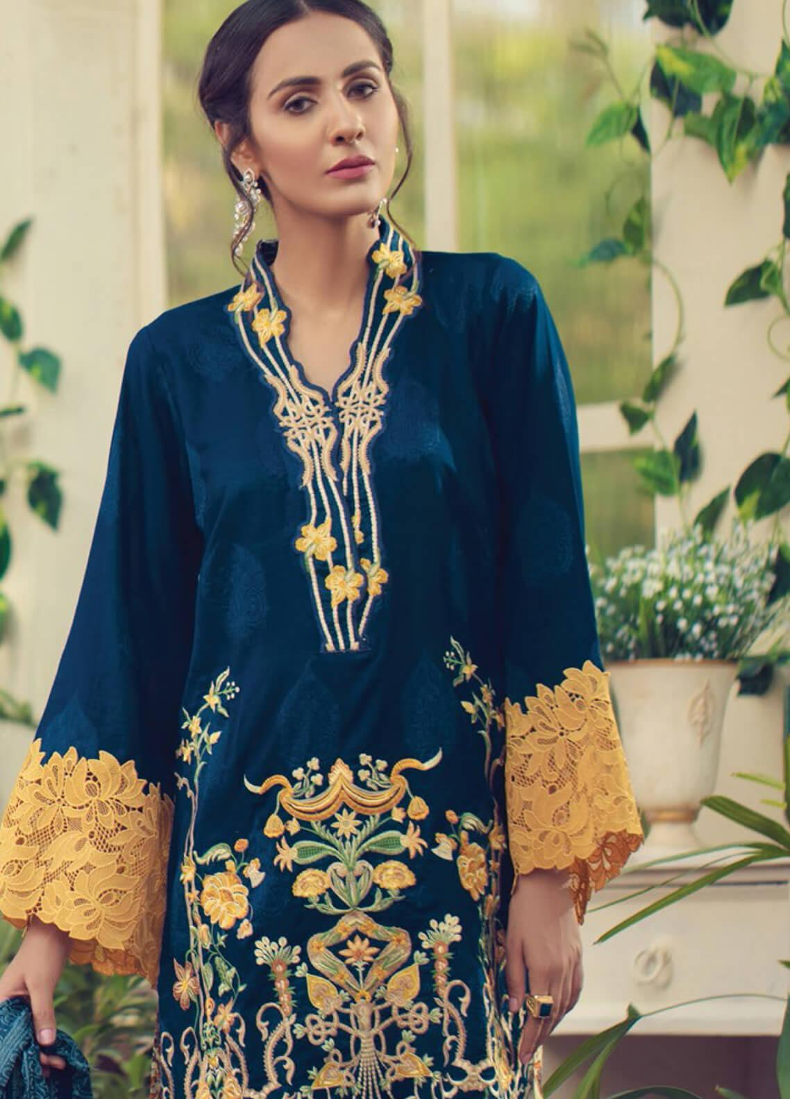 RajBari Embroidered Jacquard Unstitched 3 Piece Suit RB19F 6B - Festive Collection