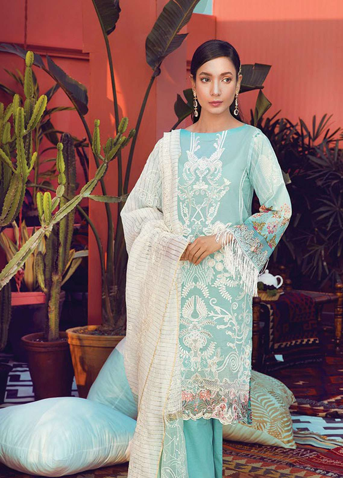 RajBari Embroidered Lawn Unstitched 3 Piece Suit RB19L 1B - Spring / Summer Collection