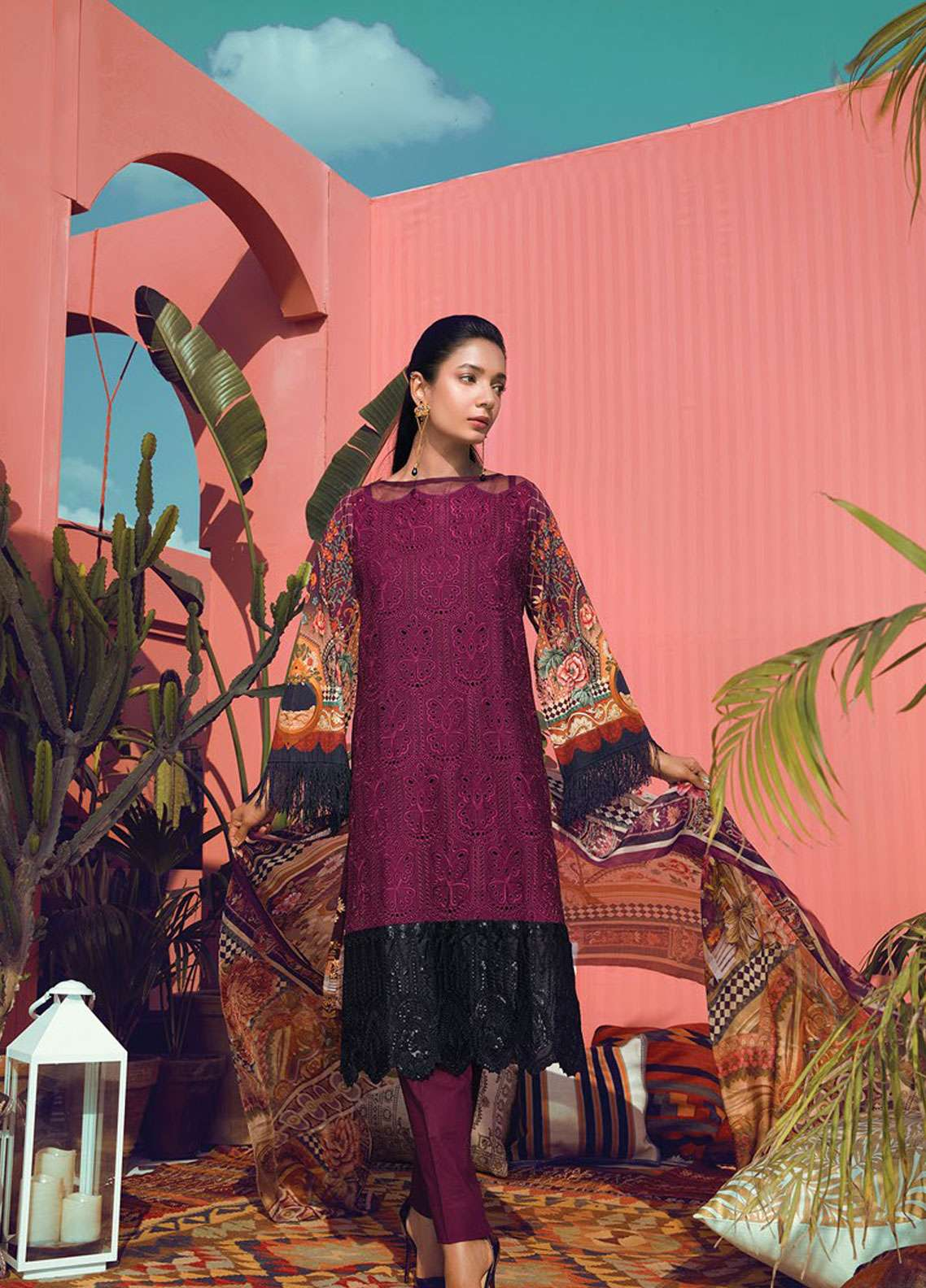 RajBari Embroidered Schiffli Unstitched 3 Piece Suit RB19L 3A - Spring / Summer Collection